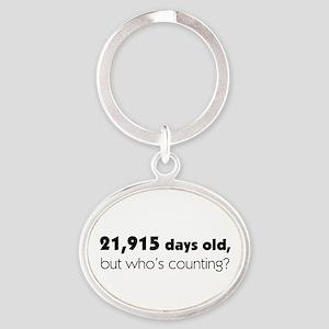 60th Birthday Oval Keychain