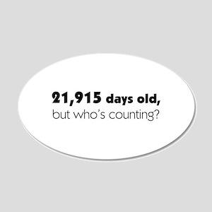 60th Birthday 20x12 Oval Wall Decal