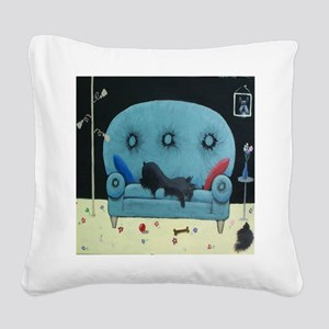 Schnauzer on the Couch Square Canvas Pillow