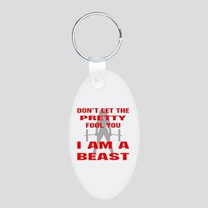 Female I Am A Beast Aluminum Oval Keychain