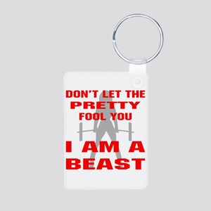 Female I Am A Beast Aluminum Photo Keychain