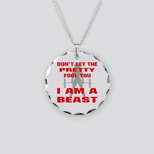 Female I Am A Beast Necklace Circle Charm