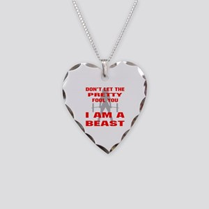 Female I Am A Beast Necklace Heart Charm