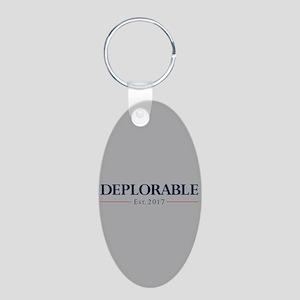 Deplorable Est 2017 Aluminum Oval Keychain