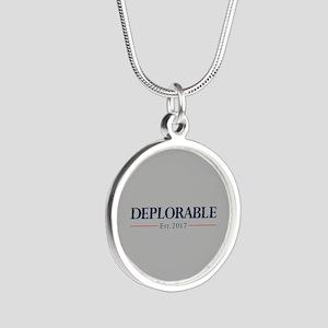 Deplorable Est 2017 Silver Round Necklace
