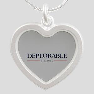 Deplorable Est 2017 Silver Heart Necklace