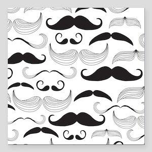 "Mustache Black Square Car Magnet 3"" x 3"""