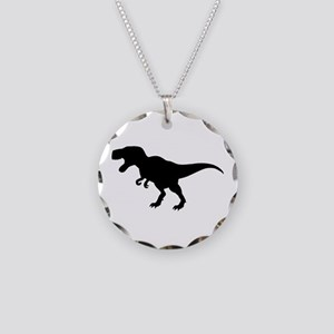 Dinosaur T-Rex Necklace Circle Charm