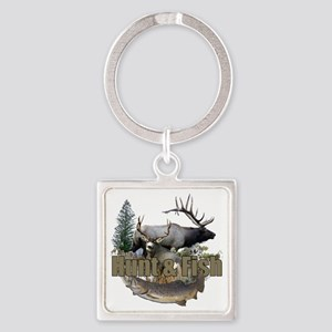 Hunt and Fish Square Keychain