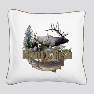 Hunt and Fish Square Canvas Pillow