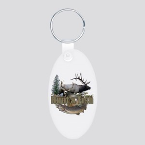 Hunt and Fish Aluminum Oval Keychain