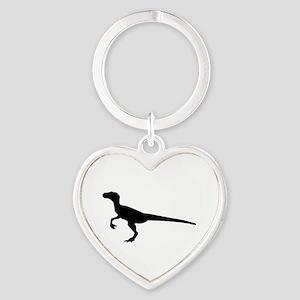 Dinosaur velociraptor Heart Keychain