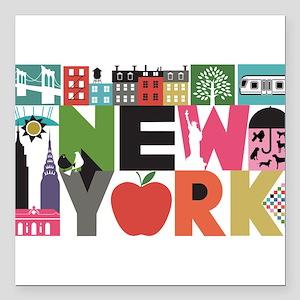 Unique New York - Block by Block Square Car Magnet