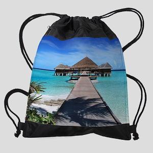 Beach Hut Drawstring Bag