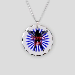 Veteran's Angel Necklace Circle Charm