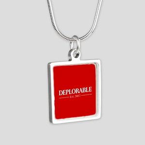 Deplorable Est 2017 Silver Square Necklace