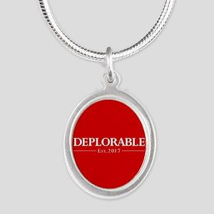 Deplorable Est 2017 Silver Oval Necklace