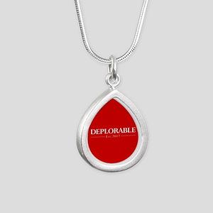 Deplorable Est 2017 Silver Teardrop Necklace
