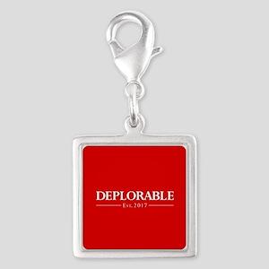 Deplorable Est 2017 Silver Square Charm