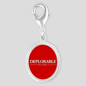 Deplorable Est 2017 Silver Oval Charm