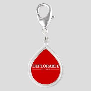 Deplorable Est 2017 Silver Teardrop Charm