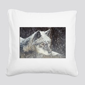 snowy face Square Canvas Pillow
