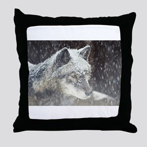 snowy face Throw Pillow
