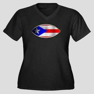 Ichthus - Puerto Rican Flag Women's Plus Size V-Ne