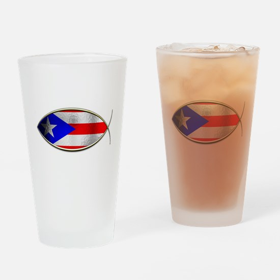 Ichthus - Puerto Rican Flag Drinking Glass