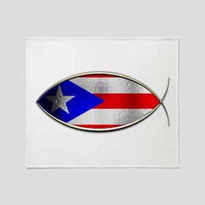 Ichthus - Puerto Rican Flag Throw Blanket