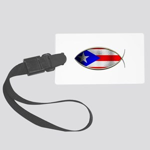 Ichthus - Puerto Rican Flag Large Luggage Tag