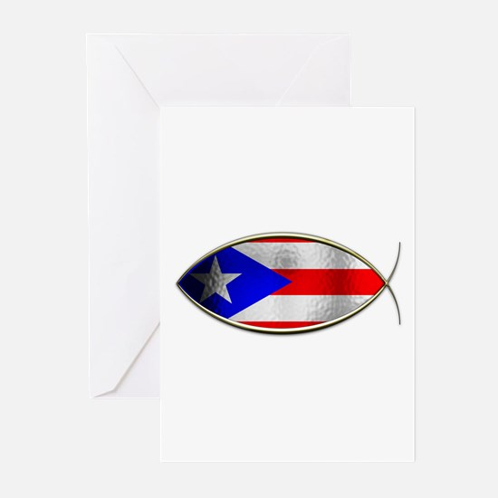 Ichthus - Puerto Rican Flag Greeting Cards (Pk of