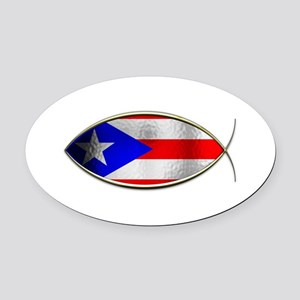 Ichthus - Puerto Rican Flag Oval Car Magnet