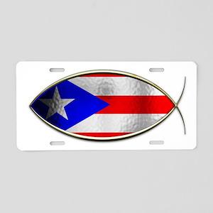 Ichthus - Puerto Rican Flag Aluminum License Plate