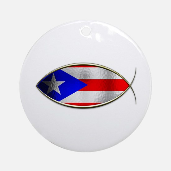 Ichthus - Puerto Rican Flag Ornament (Round)