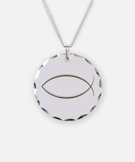 Ichthus Necklace Circle Charm