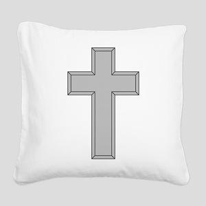 Silver Cross Square Canvas Pillow
