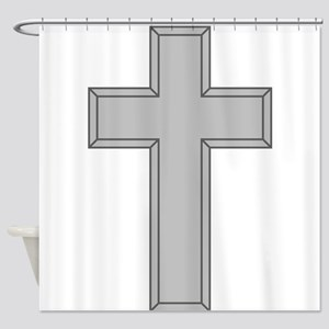 Silver Cross Shower Curtain