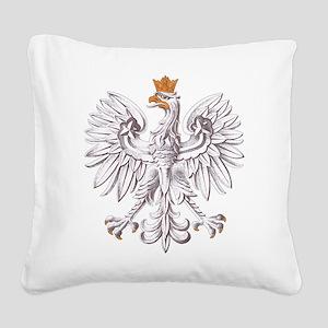 White Eagle of Poland Square Canvas Pillow