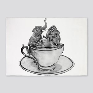 Teacup Elephants 5'x7'Area Rug