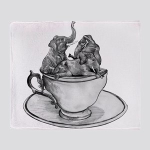 Teacup Elephants Throw Blanket