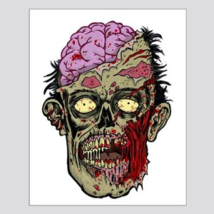 GREEN ZOMBIE HEAD WITH BRAINS--ROTTEN!! Posters