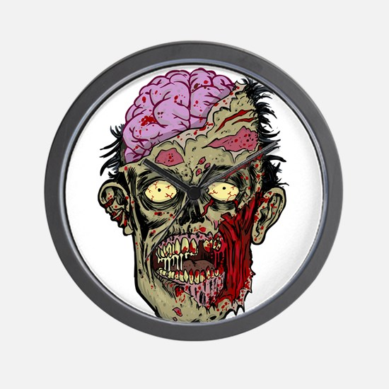GREEN ZOMBIE HEAD WITH BRAINS--ROTTEN!! Wall Clock