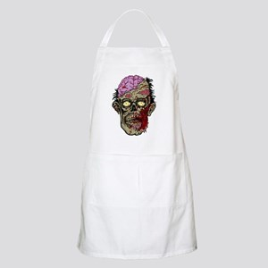 GREEN ZOMBIE HEAD WITH BRAINS--ROTTEN!! Apron