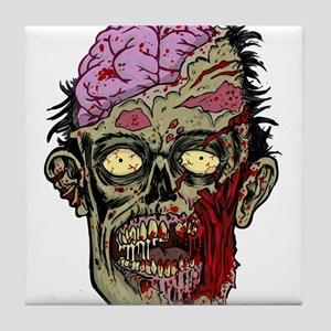 GREEN ZOMBIE HEAD WITH BRAINS--ROTTEN!! Tile Coast