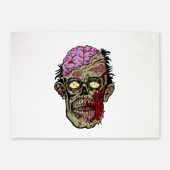 GREEN ZOMBIE HEAD WITH BRAINS--ROTTEN!! 5'x7'Area