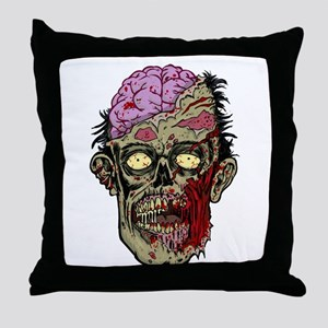GREEN ZOMBIE HEAD WITH BRAINS--ROTTEN!! Throw Pill