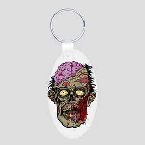 GREEN ZOMBIE HEAD WITH BRAINS--ROTTEN!! Keychains