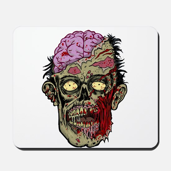 GREEN ZOMBIE HEAD WITH BRAINS--ROTTEN!! Mousepad