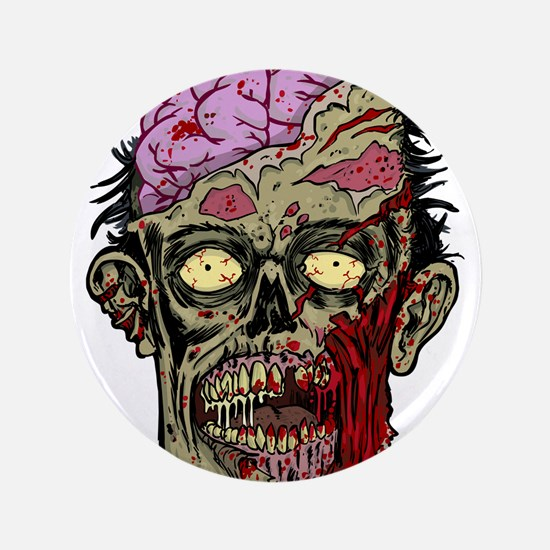"""GREEN ZOMBIE HEAD WITH BRAINS--ROTTEN!! 3.5"""" Butto"""